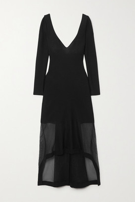 Alexander McQueen Layered Ribbed-knit And Silk-blend Tulle Dress - Black