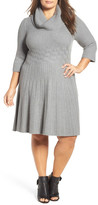 Eliza J Cowl Neck Fit & Flare Sweater Dress (Plus Size)