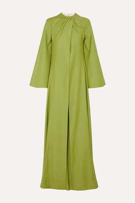 Emilia Wickstead Enid Cape-effect Draped Wool-gabardine Jumpsuit - Green