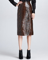 Burberry Python-Print Leather Pencil Skirt