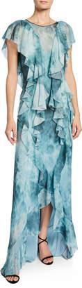 Flor Et. Al Lemmon Dark & Stormy Cascading Ruffle Gown