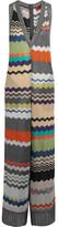 Missoni Metallic Crochet-knit Jumpsuit - Silver
