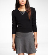 Express Cropped Ribbed Ottoman Shoulder Sweater