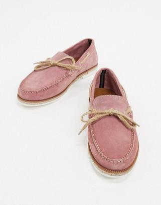 Silver Street suede boat shoe in pink