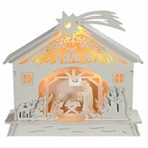 Camilla And Marc WeRChristmas Pre-Lit Christmas Wooden Nativity Scene Decoration Illuminated with Warm LED, 18 cm - Multi-Colour