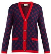 Gucci GG-jacquard Cotton Cardigan - Womens - Navy Multi