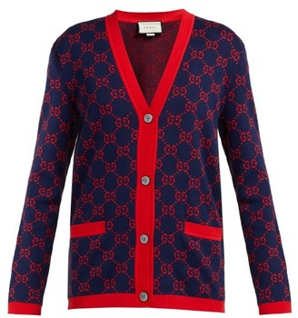 Gucci Gg Jacquard Cotton Cardigan - Womens - Navy Multi