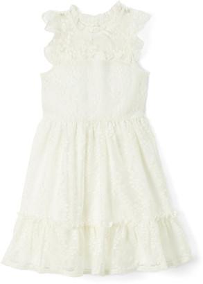 Nannette Kids Girls' Special Occasion Dresses IVORY - Ivory Mesh Angel-Sleeve Dress - Toddler & Girls