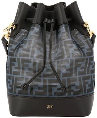 Fendi Crossbody Bags Mon Tresor Bucket Bag In Genuine Leather And Mesh With Ff Logo
