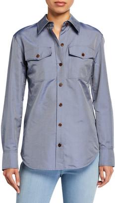 Lafayette 148 New York Briar Genteel Shirting Button-Down Blouse