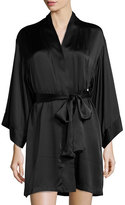 Josie Natori Key Silk Wrap Robe, Black