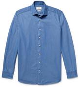 Hackett Slim-Fit Cutaway-Collar Polka-Dot Cotton-Chambray Shirt