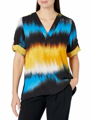 Chaus Women's Roll Tab Oasis Waves V-Neck Blouse