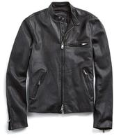 Todd Snyder Cafe Racer Leather Jacket in Black