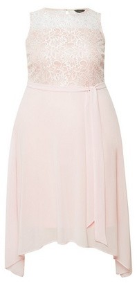 Dorothy Perkins Womens Billie & Blossom Curve Blush Lace Hanky Hem Midi Dress