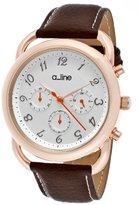 A Line a_line Women's AL-80012-YG-02-BR Maya Chronograph Silver Dial Brown Leather Watch