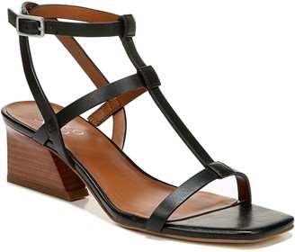 Franco Sarto Angled Block-Heel Leather Sandals- Chopra