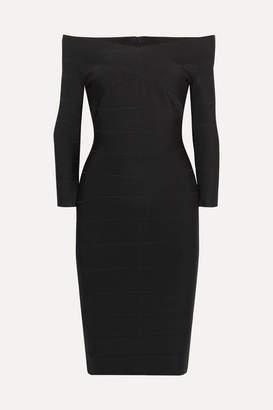 Herve Leger Off-the-shoulder Bandage Mini Dress - Black