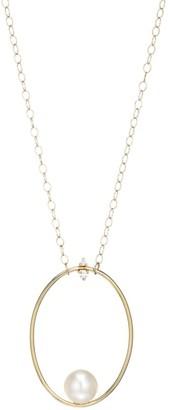 Mizuki Large 14K Yellow Gold, Floating 10MM Freshwater Pearl & Diamond Oval Pendant Necklace