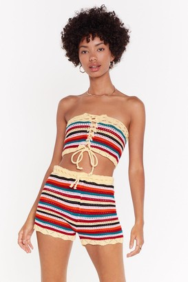 Nasty Gal Womens Let The Stripe One In Crochet Crop Top And Shorts Set - Yellow - 4