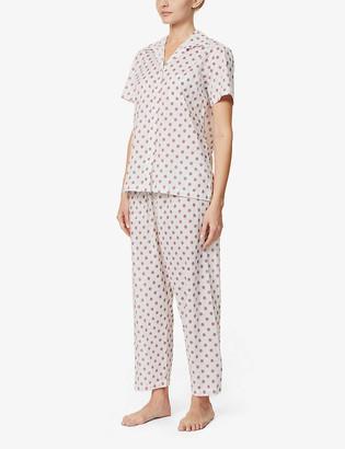 POUR LES FEMMES Snowflake-print cotton pyjama set