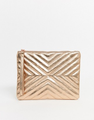 Asos Design DESIGN quilted zip top clutch bag-Copper
