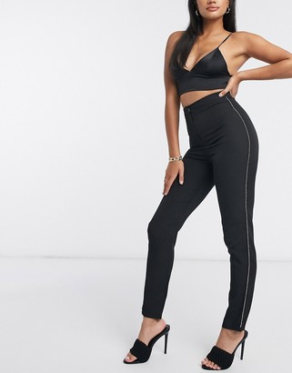Club L London Club L tailored skinny trouser with diamante detail in black