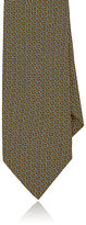 Barneys New York MEN'S GEOMETRIC-PATTERN SILK SATIN NECKTIE