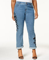 Style&Co. Style & Co Plus Size Embroidered Boyfriend Jeans, Created for Macy's