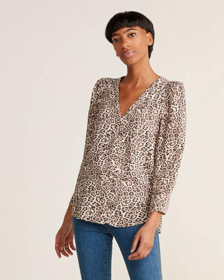 1 STATE 1.State Animal Print Puff Sleeve Blouse