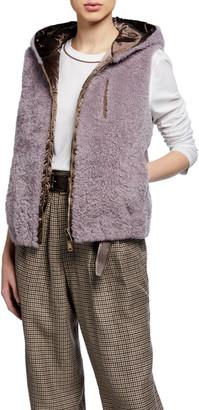 Brunello Cucinelli Cashmere Goat Fur Taffeta Vest