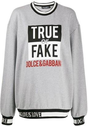 Dolce & Gabbana Oversized Slogan Knit Sweater