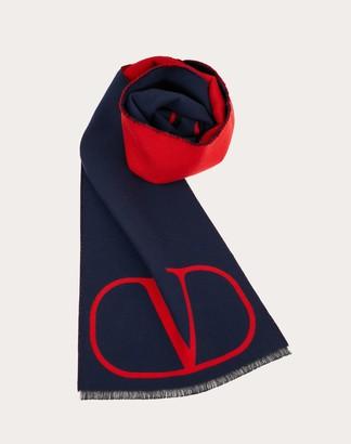 Valentino Uomo Vlogo Scarf Man Navy/ Red Silk 4% OneSize