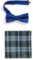Nordstrom Boy's Bear Pattern Silk Bow Tie & Plaid Silk Pocket Square