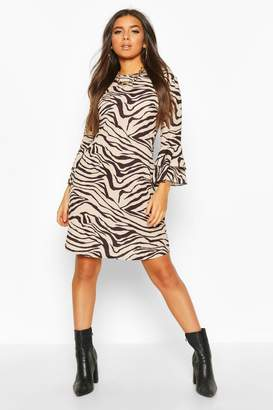 boohoo Crew Neck Mini Dress With Tiered Frill Sleeves