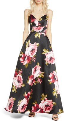 Sequin Hearts Floral Print Lace Back Mikado Gown