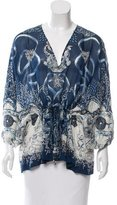 Roberto Cavalli Semi-Sheer Abstract Print Top