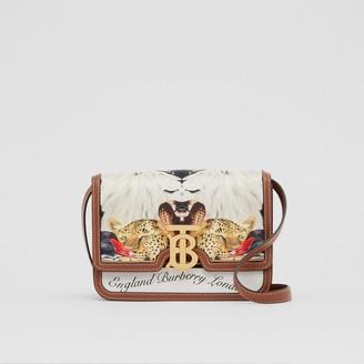 Burberry Small Animalia Print Silk and Leather TB Bag