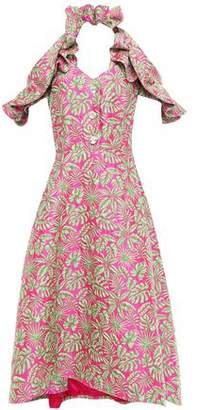 DELPOZO Cold-shoulder Ruffled Jacquard Midi Dress