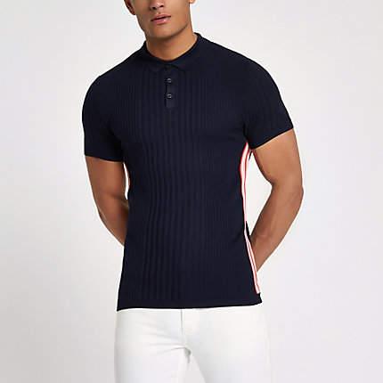 River Island Mens RI Studio Navy stripe muscle fit polo shirt