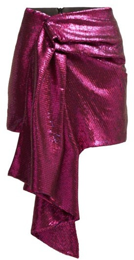 Halpern Draped Sequinned Mini Skirt - Womens - Pink