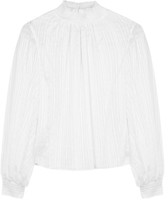 Alice + Olivia Kasha white seersucker blouse