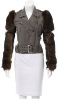 Thomas Wylde Fur-Trimmed Herringbone Jacket