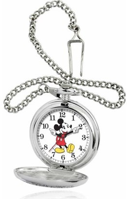 Mickey Mouse Men's Pocket Watch, Silver Chain