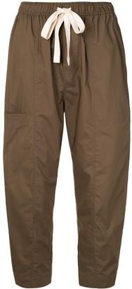 Lee Mathews Cotton Cropped Drawstring Waist Trousers