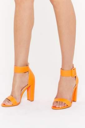 Nasty Gal Womens High There Faux Suede Buckle Heels - Orange - 3, Orange