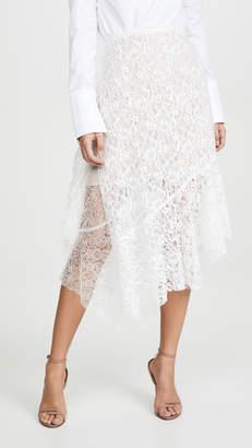 ANAÏS JOURDEN White Velvet Duo Lace Midi Skirt
