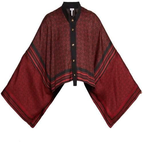 Loewe - Anagram Print Silk Scarf Jacket - Womens - Black Red