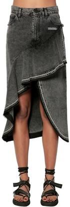 Off-White Ruffled Cotton Denim Midi Skirt