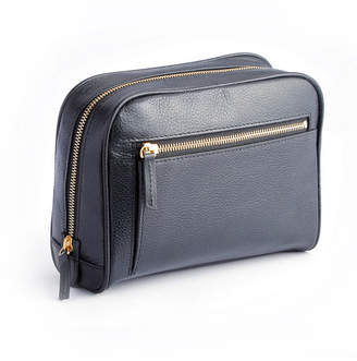 Royce Leather Royce New York Pebbled Toiletry Bag with Front Zipper Compartment